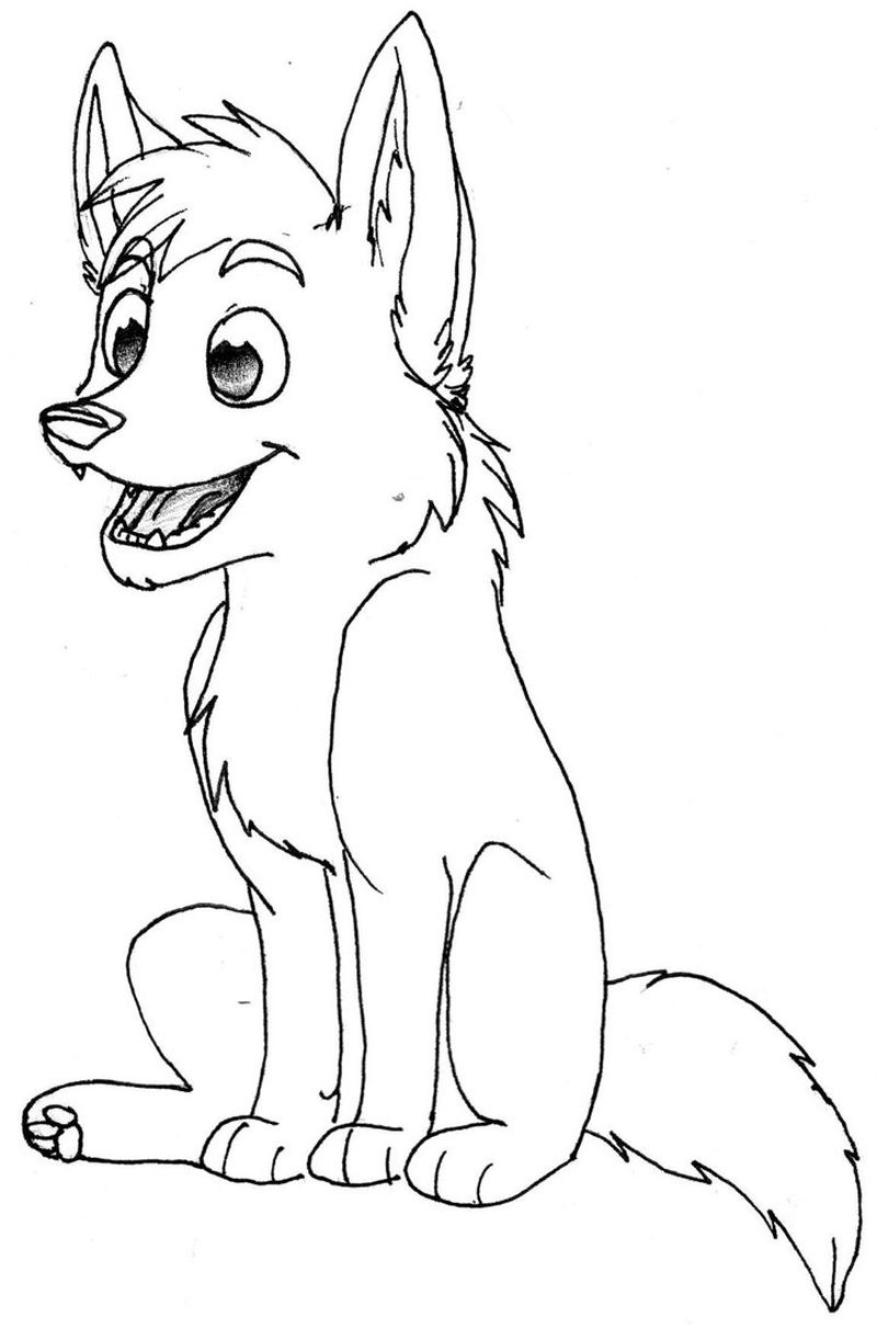 baby wolf coloring pages free