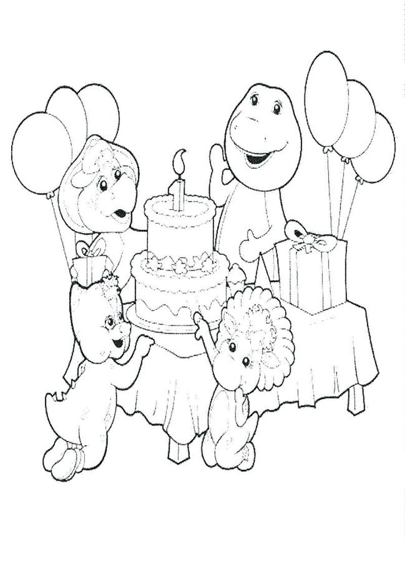 barney and friends coloring pages birthday