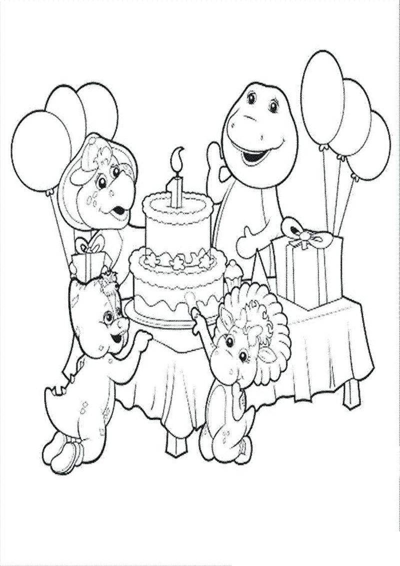 barney coloring pages birthday