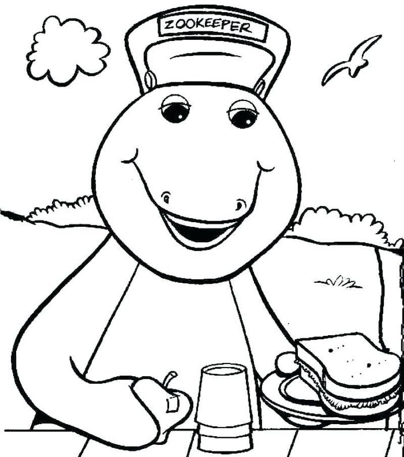 barney happy birthday coloring pages