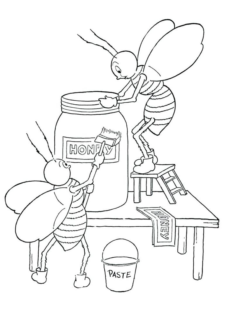 bee coloring pages for preschoolers