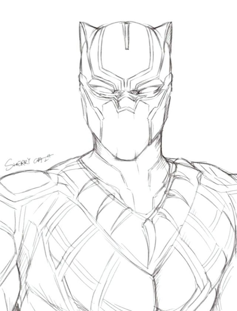 black panther cartoon coloring pages