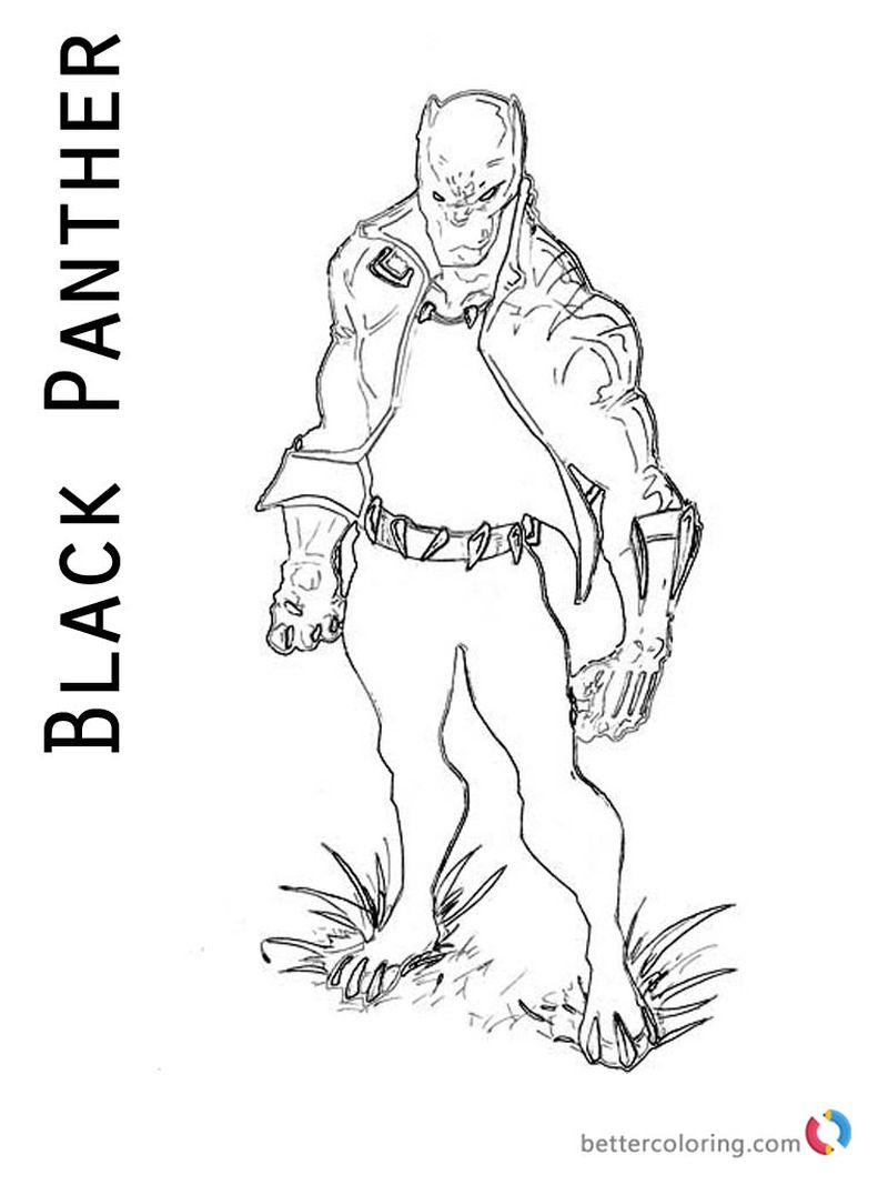 black panther coloring book pages