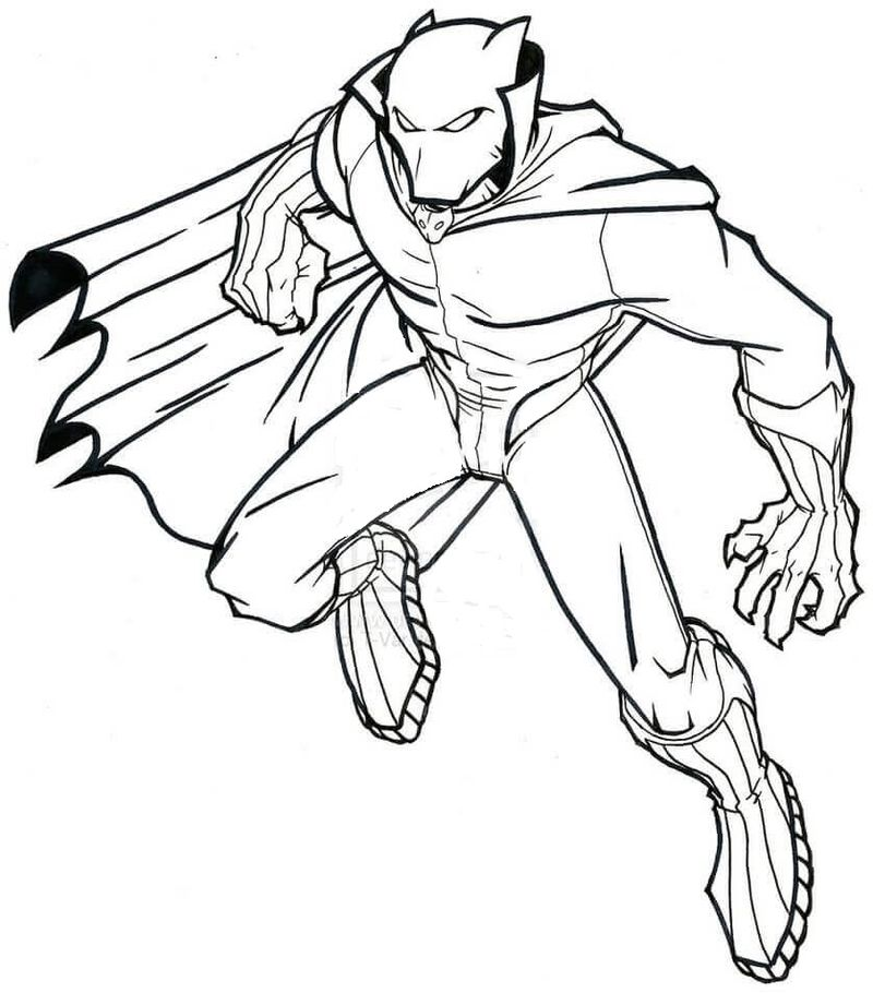 black panther fighting coloring pages