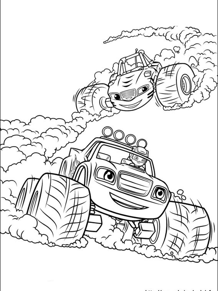 blaze and the monster machines coloring pages online
