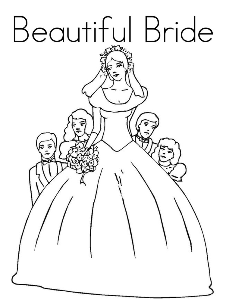 bride and groom colouring pages sheet printable