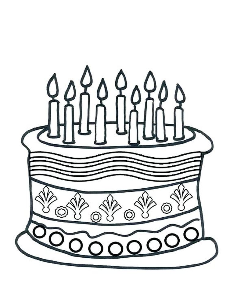 cake coloring pages birthday