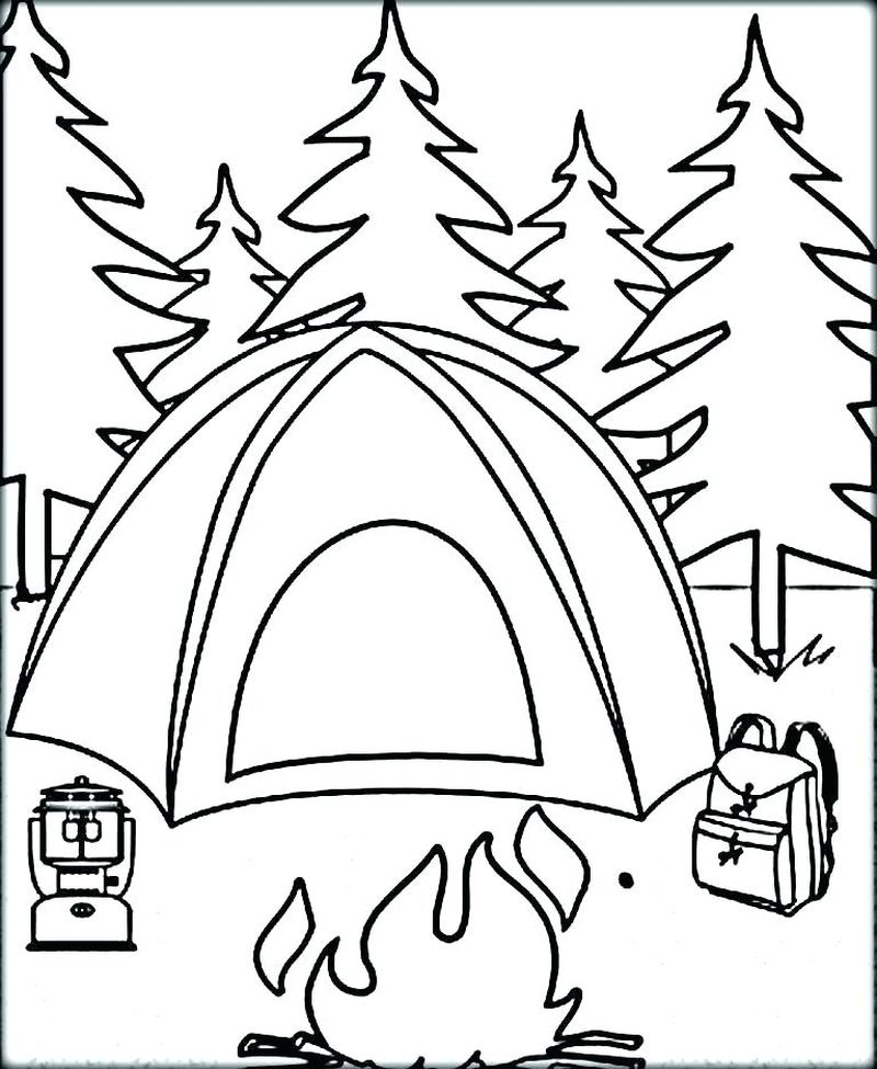 camping cartoon coloring pages