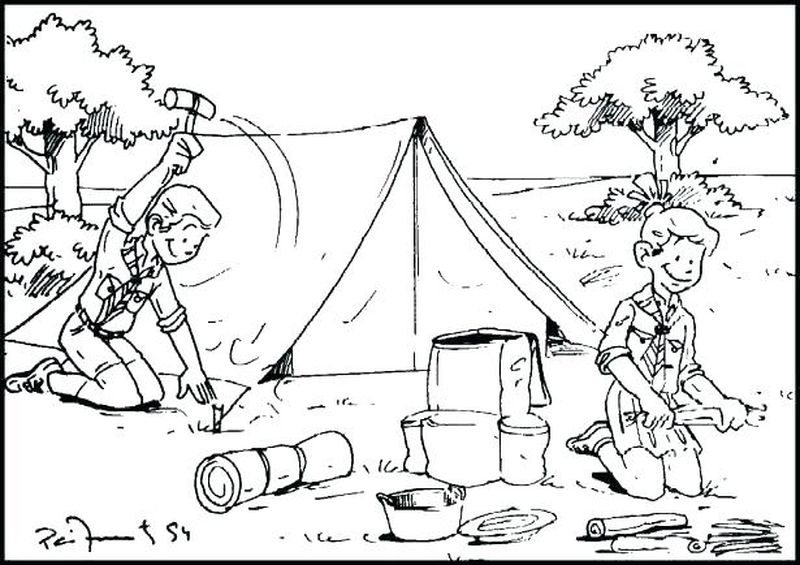 camping colouring pages for preschoolers