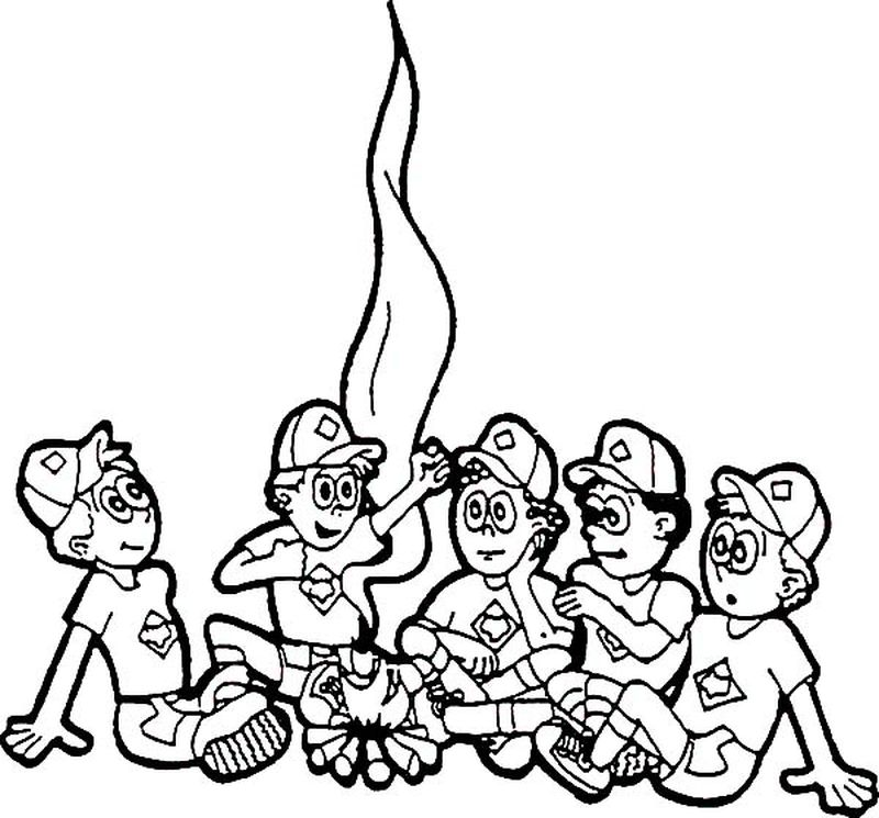 camping colouring pages free