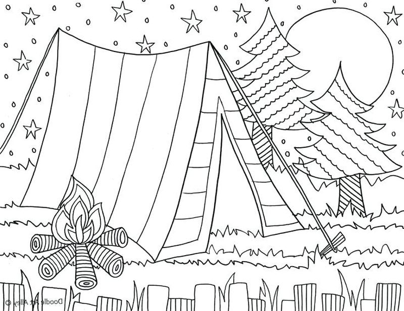camping fun coloring pages
