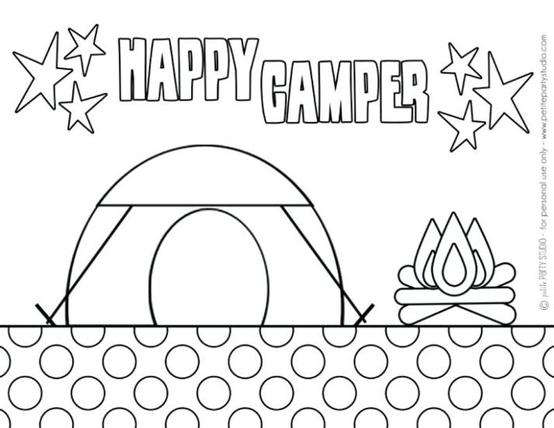 camping items coloring pages