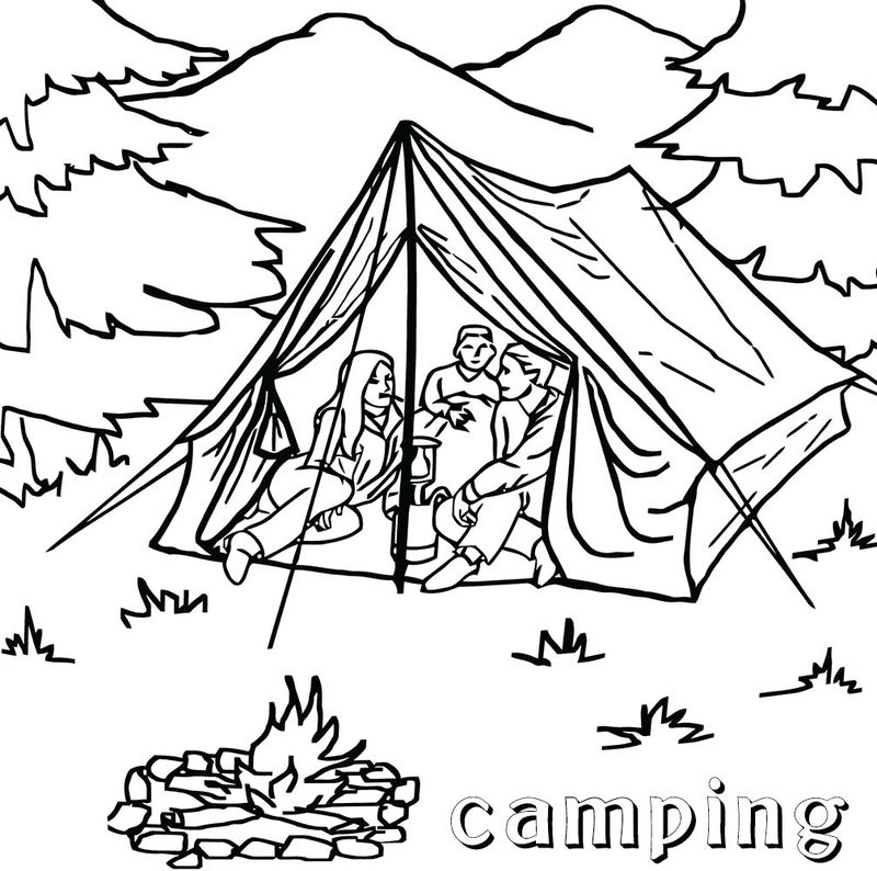 camping themed coloring pages