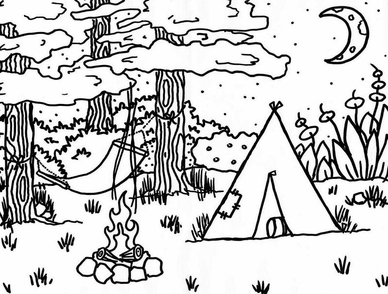 camping trip coloring pages