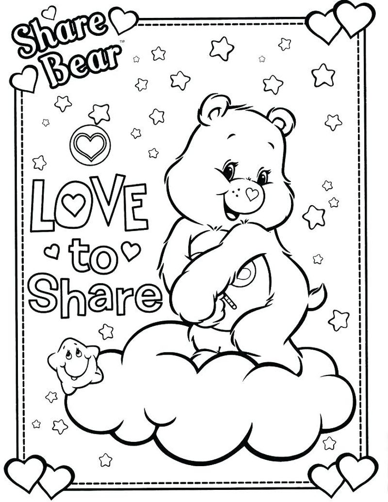 care bear colouring in pages