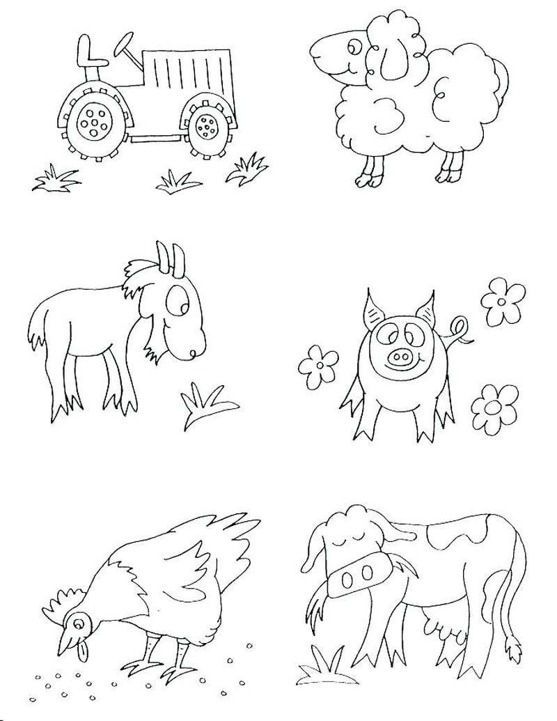 cartoon farm animals coloring pages