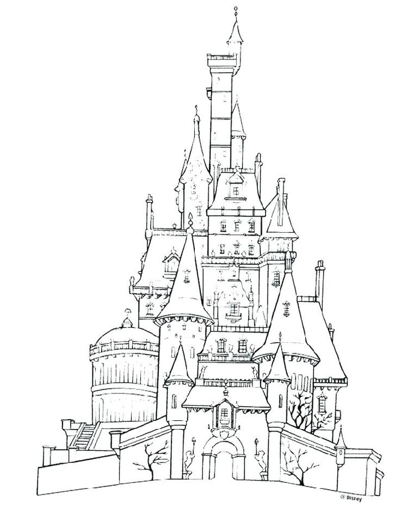 castle and mermaid coloring pages