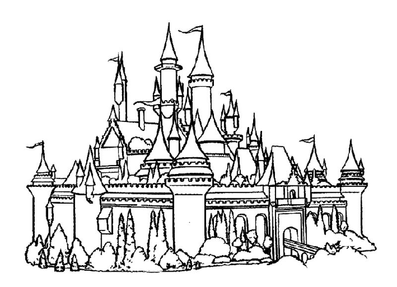 castle and unicorn coloring pages