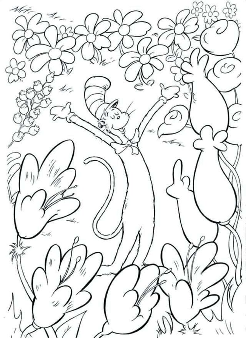 cat in the hat birthday coloring pages