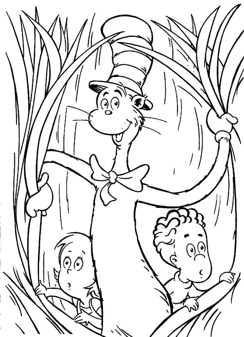 cat in the hat bow tie coloring page