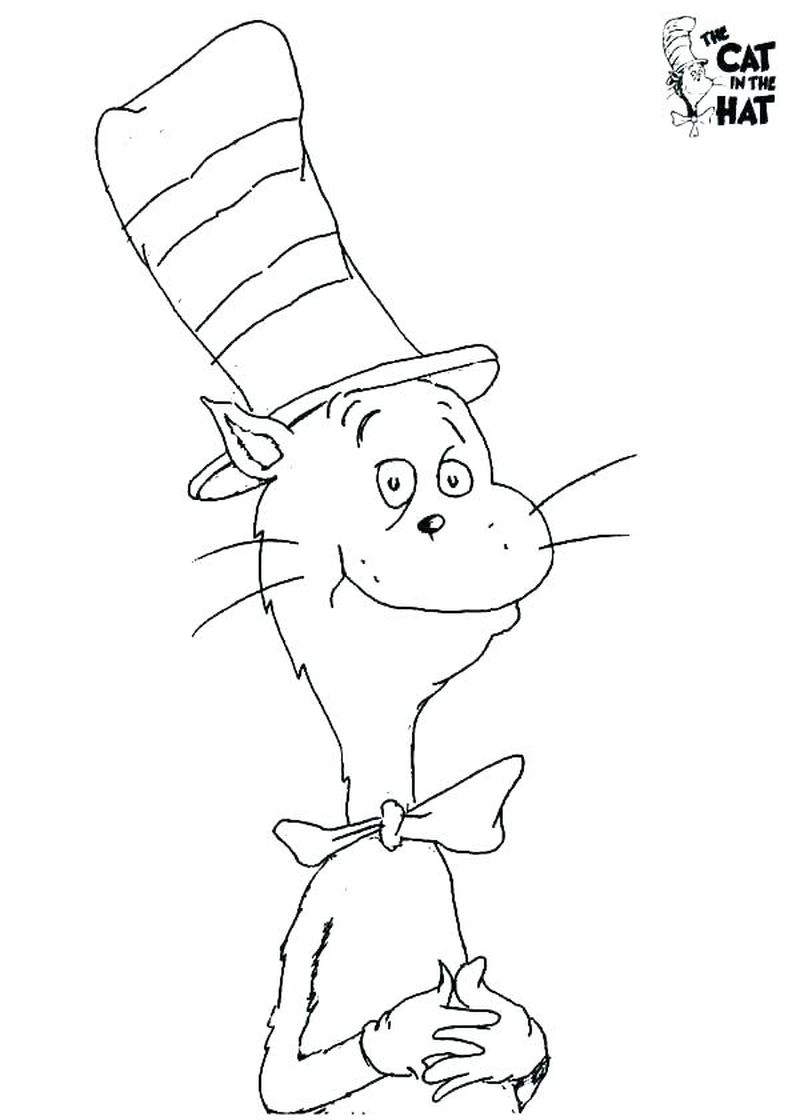 cat in the hat characters coloring pages