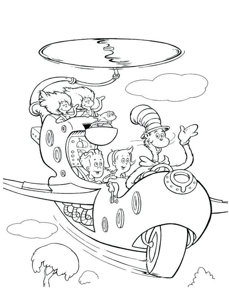 cat in the hat colouring pages to print