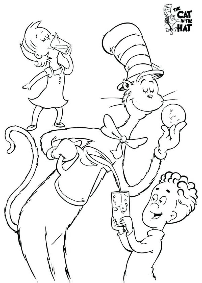 cat in the hat knows alot about that coloring pages
