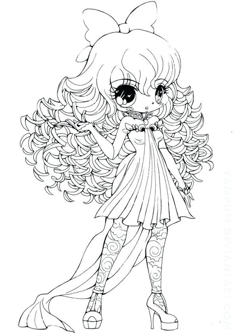 chibi cat girl coloring pages