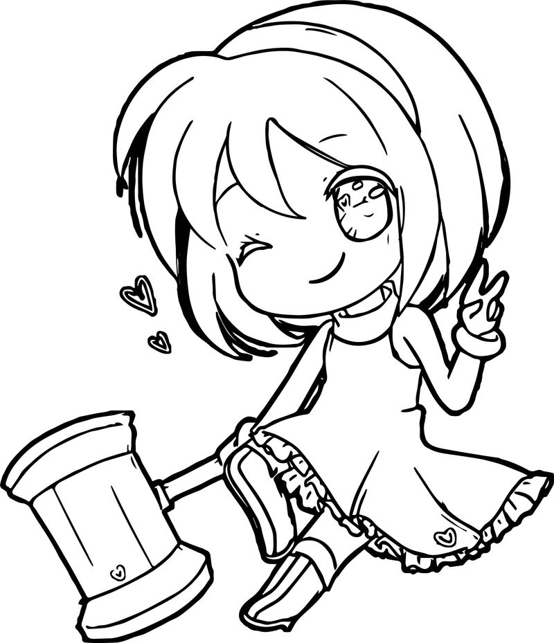 chibi coloring pages easy