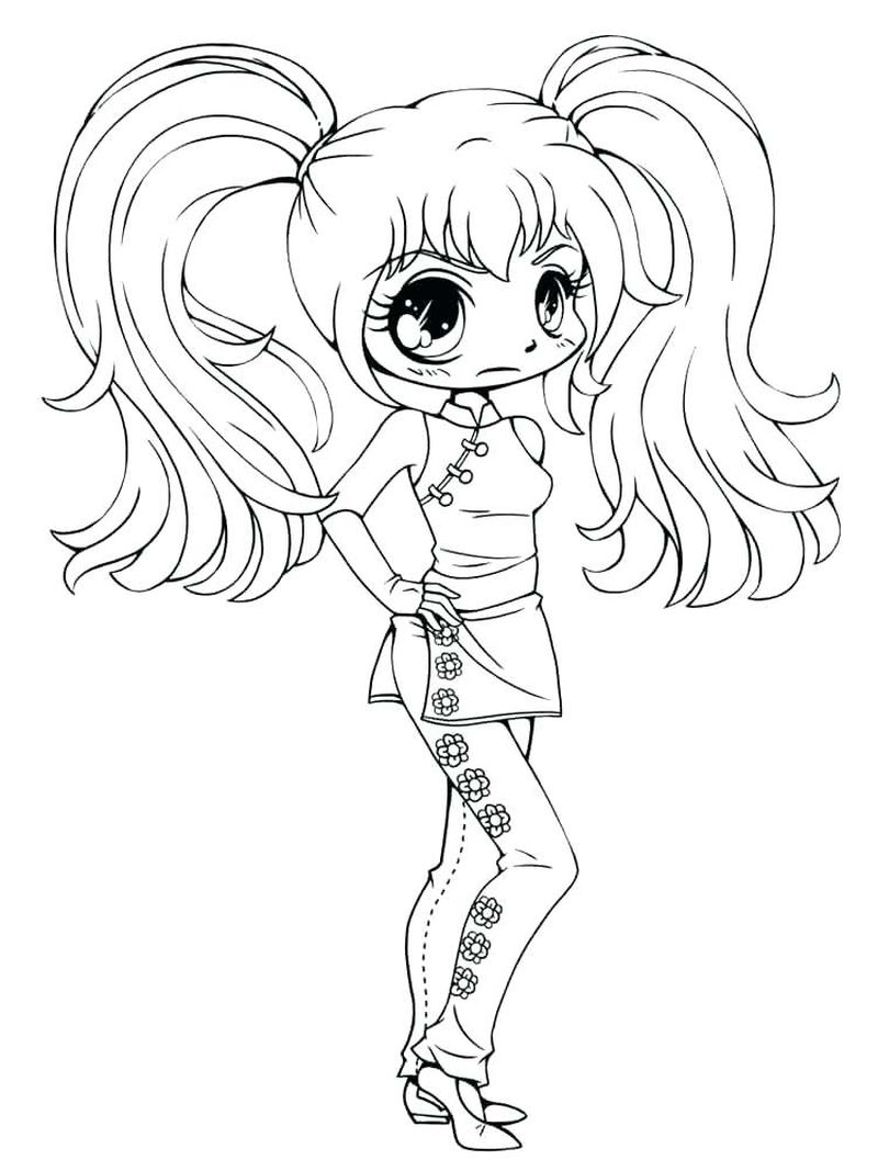 chibi colouring pages
