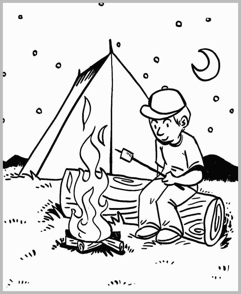 coloring book pages camping