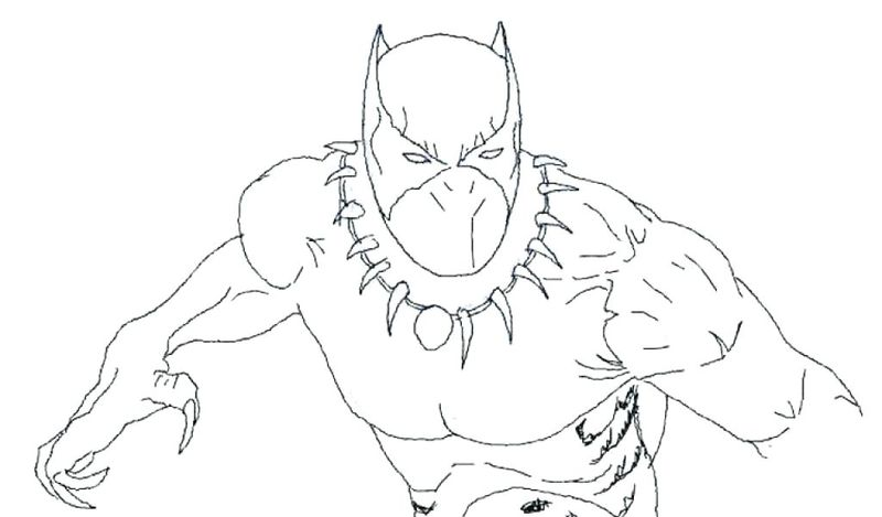 coloring page for black panther