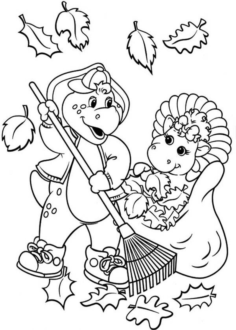 coloring page of barney