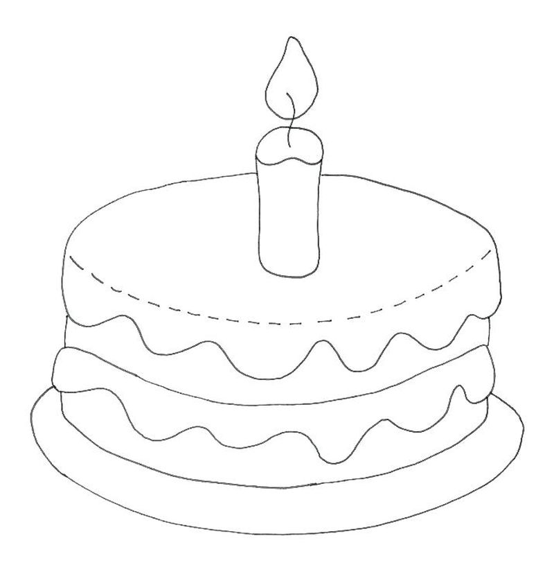 coloring pages cake with candles