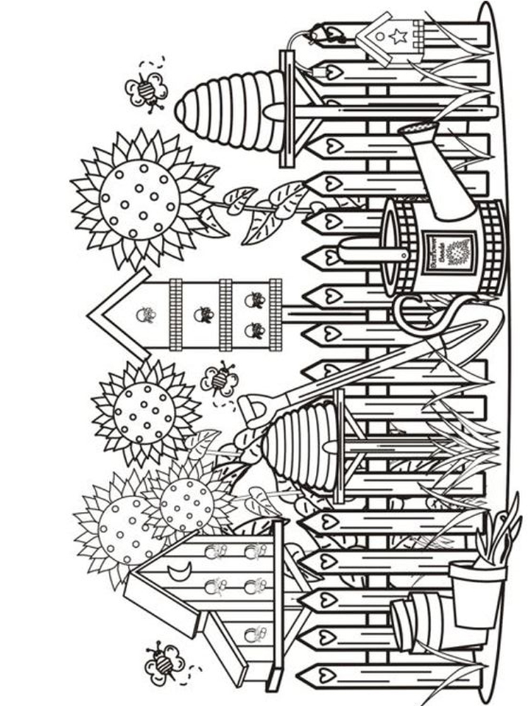 coloring pages of a flower garden