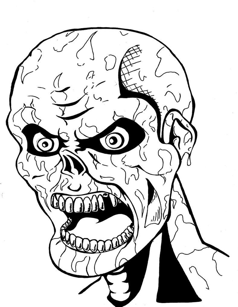 coloring pages of a zombie free
