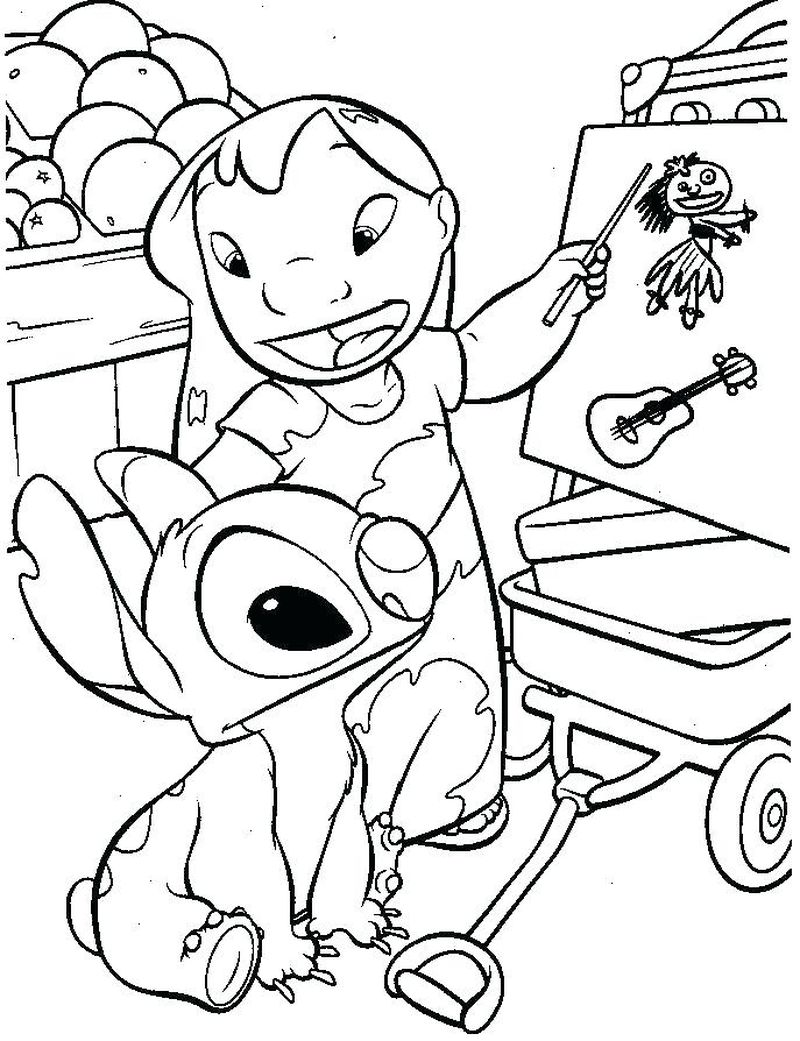 coloring pages of baby stitch