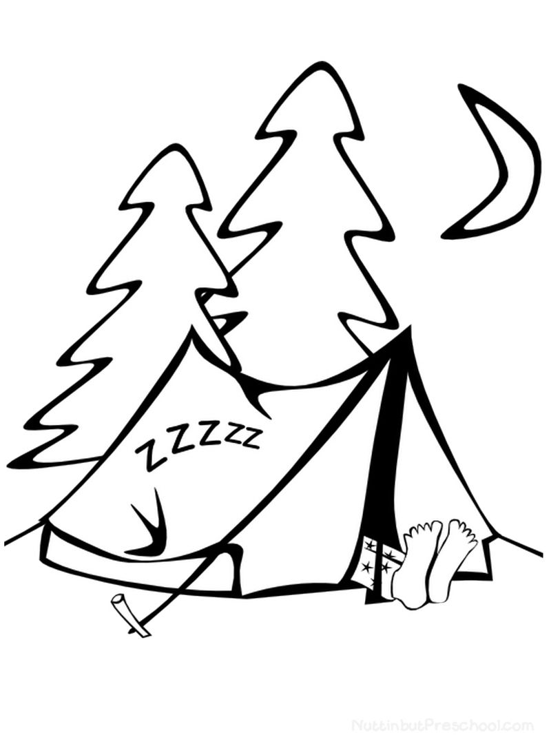 coloring pages of camping tents