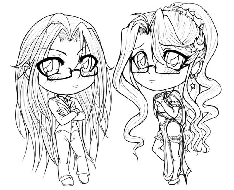 coloring pages of chibi girl