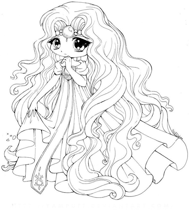 cute chibi coloring pages to print