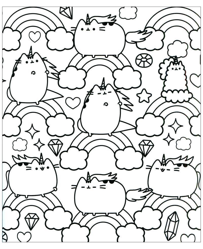 cute pusheen coloring pages to print