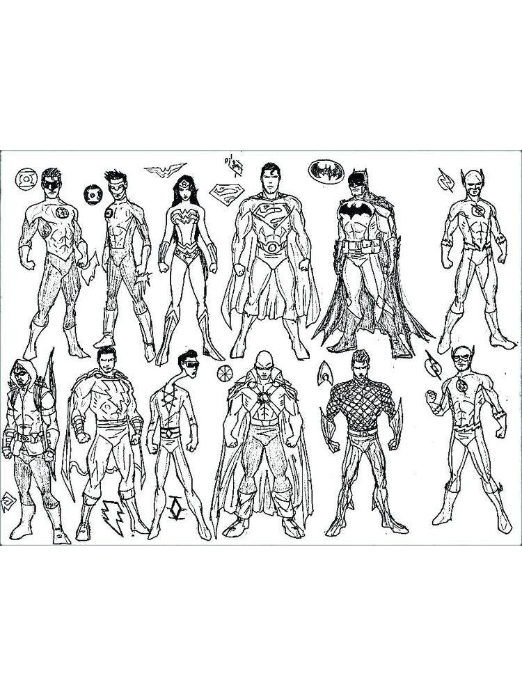 dc superheroes colouring pages