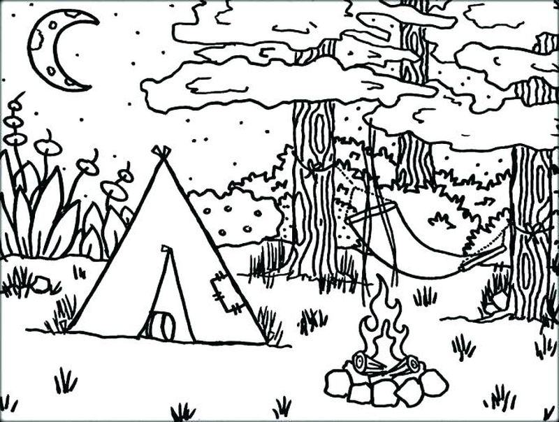 easy camping coloring pages