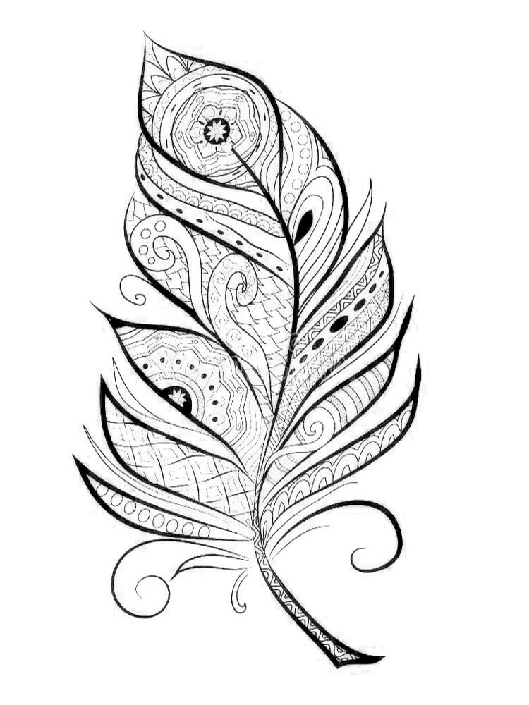 feather pattern coloring page printable