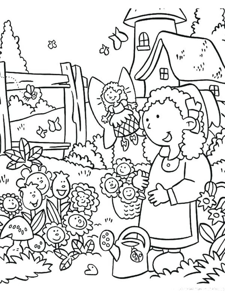 flower garden colouring pages