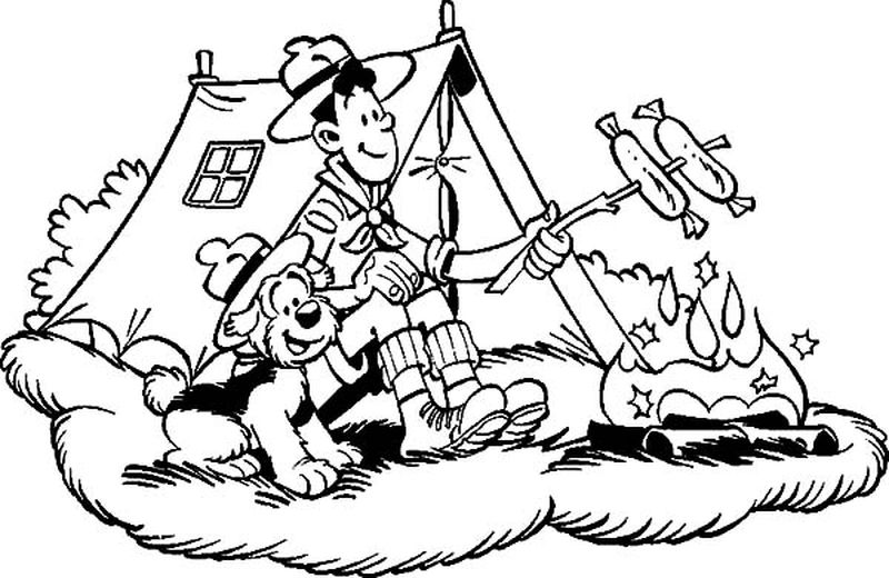 free preschool camping coloring pages