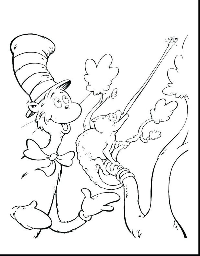 free printable cat in the hat coloring sheets