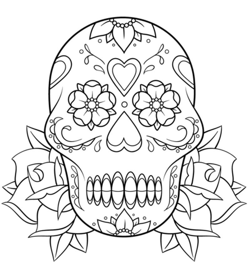 free sugar skull coloring pages pdf