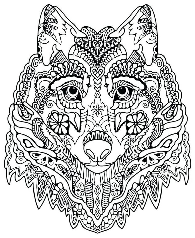 free wolf face coloring pages