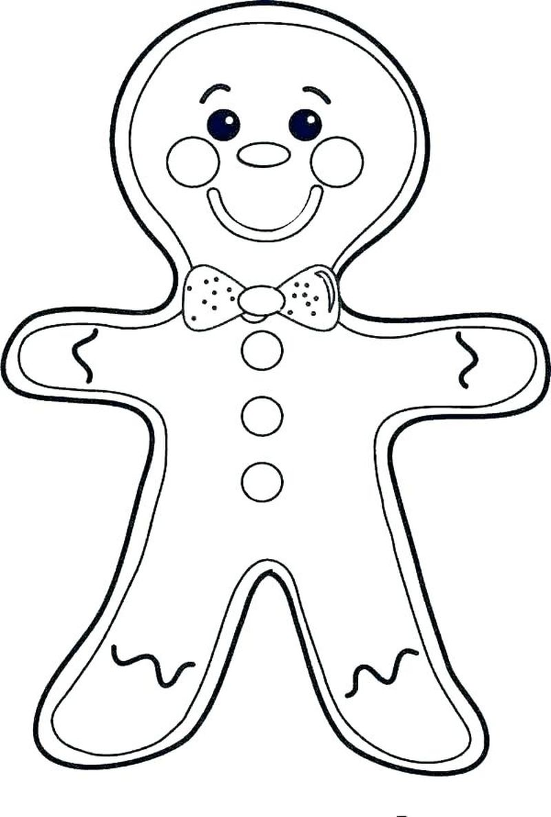 gingerbread man coloring page blank